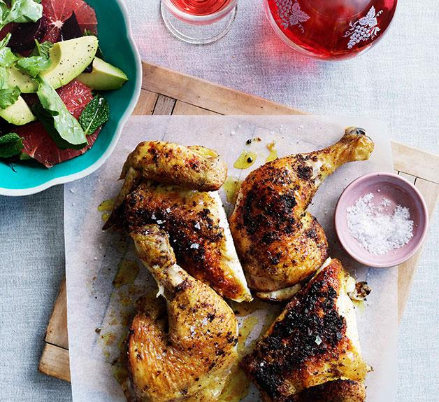Spice-rubbed chicken with pink grapefruit and beetroot salad