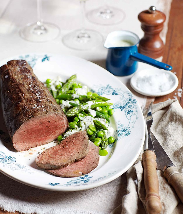 **Rare roast beef with spring greens and green goddess dressing** **Rare roast beef with spring greens and green goddess dressing**    [View Recipe](http://gourmettraveller.com.au/rare-roast-beef-with-spring-greens-and-green-goddess-dressing.htm)     PHOTOGRAPH **VANESSA LEVIS**