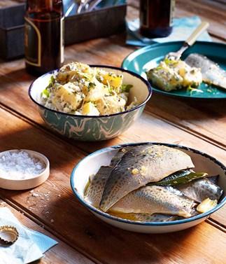 Pickled mackerel with Dutch cream potato and cress salad