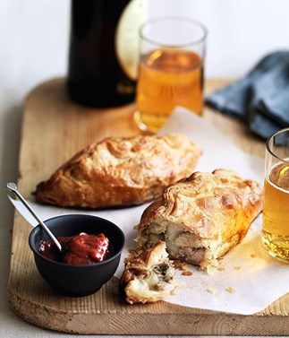 Pork, potato and rosemary pasties with rhubarb chutney