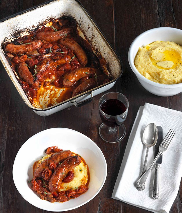 **Sausages with roasted onion, tomato and polenta**