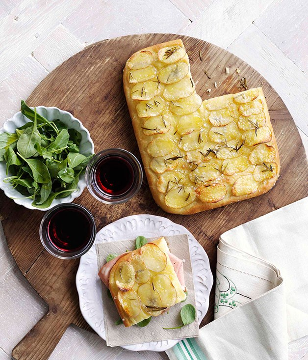 Potato and rosemary focaccia with mortadella