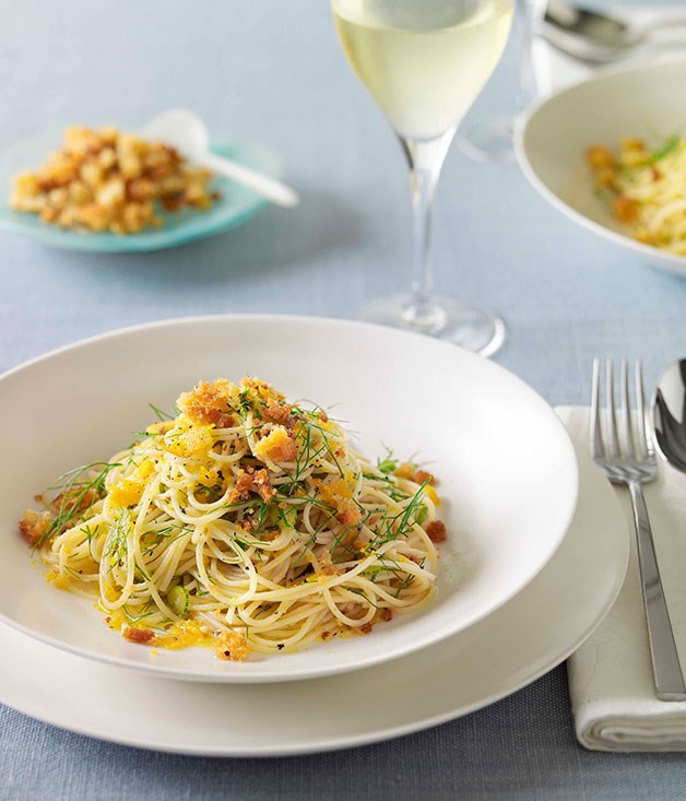 **Bottarga spaghettini with fiano** **Bottarga spaghettini with fiano**    [View Recipe](http://www.gourmettraveller.com.au/bottarga-and-fennel-spaghettini.htm)     PHOTOGRAPH **CHRIS CHEN**