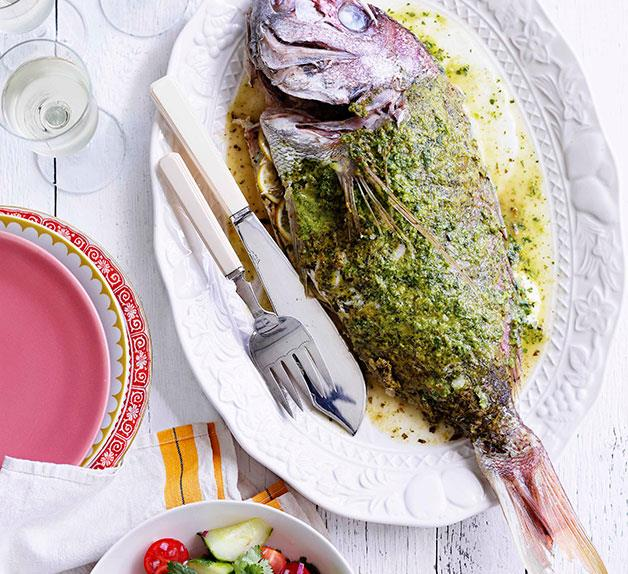 Spiced whole snapper with tomato and cucumber salad
