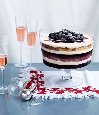 Dark berry trifle