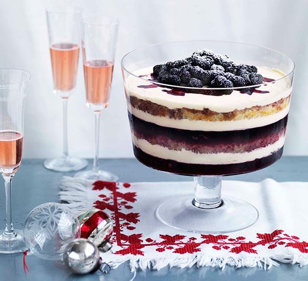 Dark berry trifle