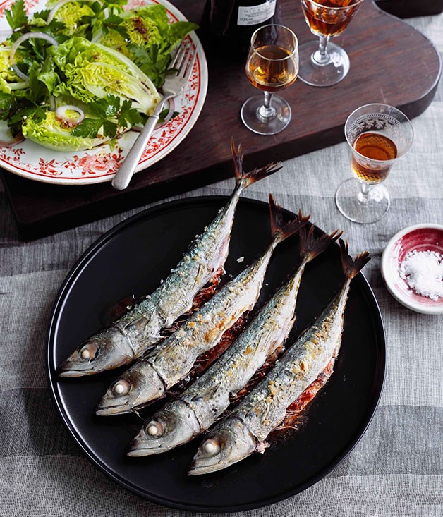 Grilled mackerel with cos heart salad