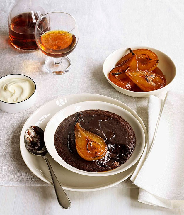 Baked chocolate cream with ginger-poached pears