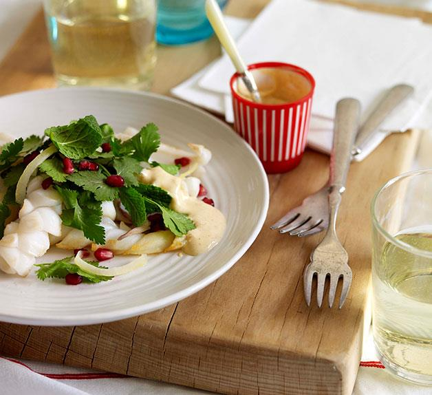 Squid with pomegranate and herb salad with Clare Valley riesling