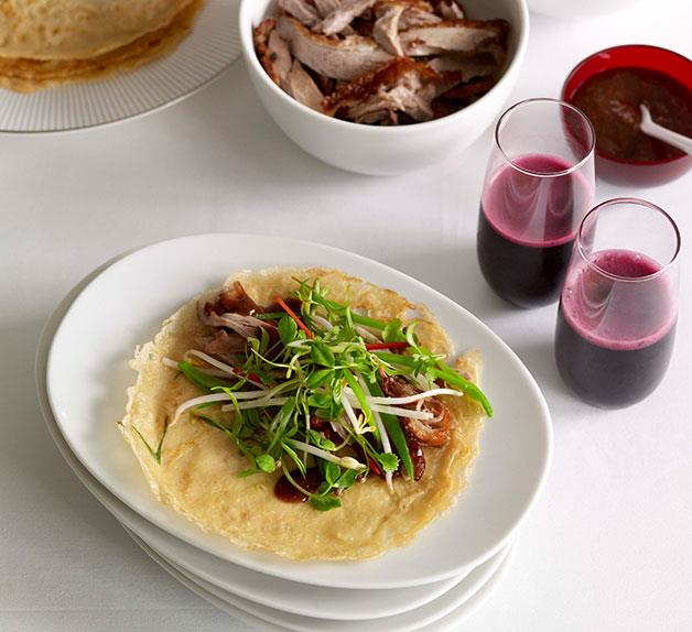 Chinese roast duck with green onion pancakes