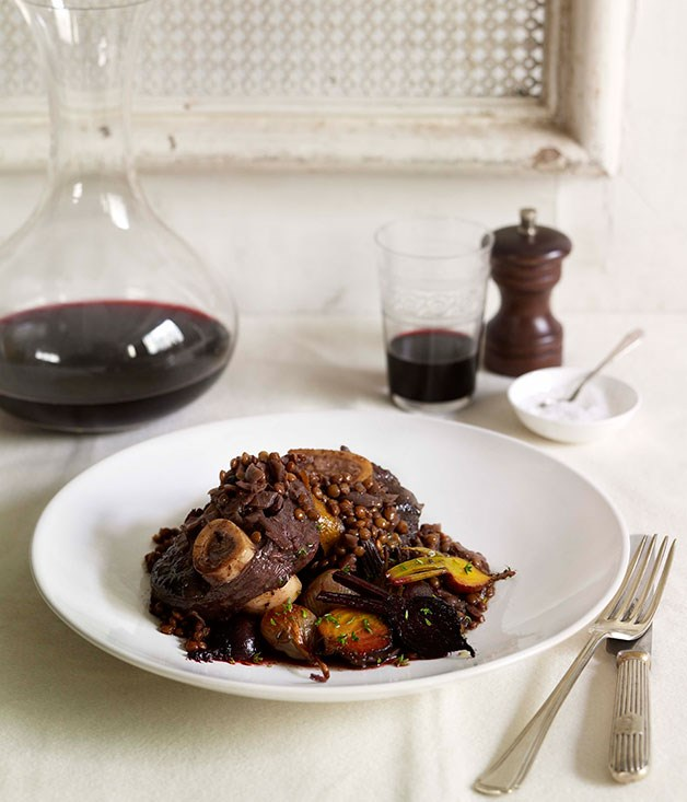 Pot-roasted venison with lentils, roast beetroot and shallots