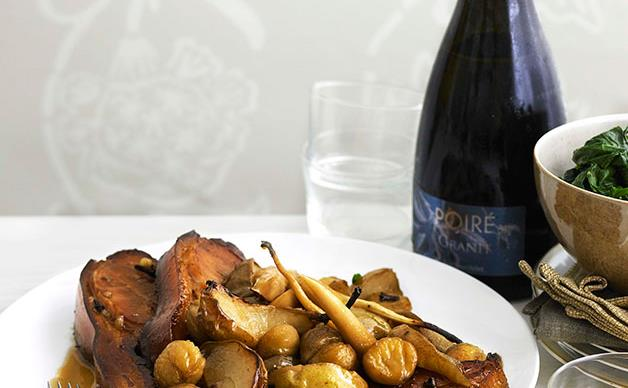 Perry-braised bacon with pears, parsnips and chestnuts