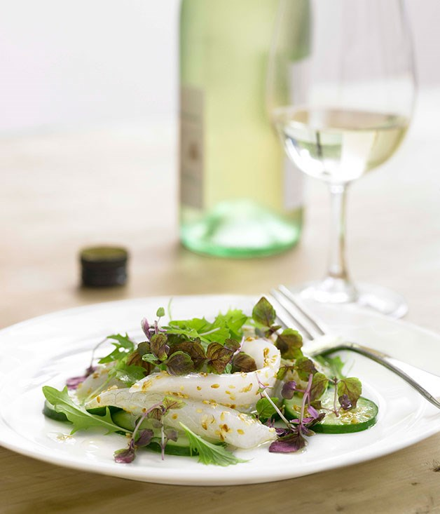 King George whiting and cucumber salad