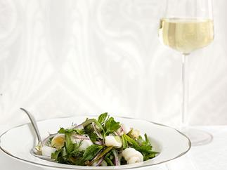Squid and herb salad with caper and lemon dressing