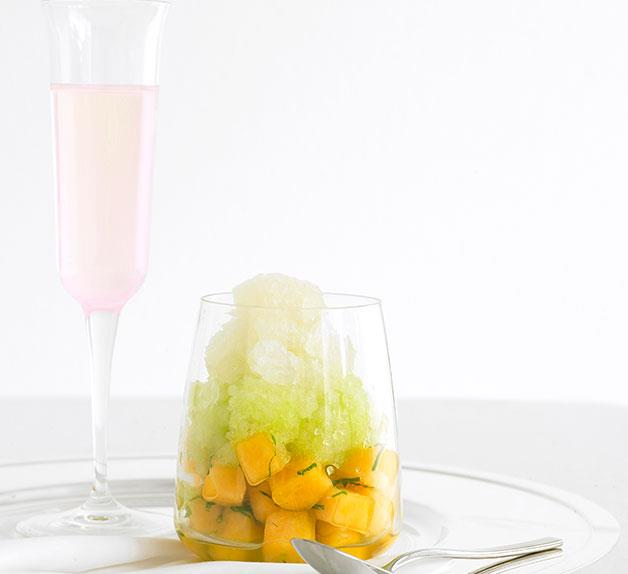 Rockmelon with Moscato-mint and honeydew granita