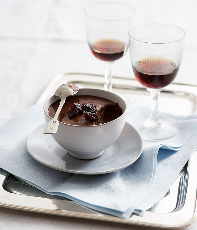 Chocolate pots with Pedro Ximénez -spiced sour cherries