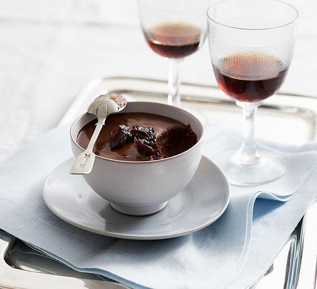 Chocolate pots with Pedro Ximénez -spiced sour cherries