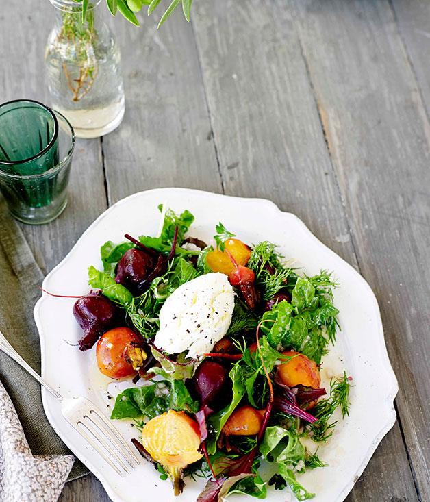 "**[Beetroot, silverbeet and goat's curd salad](https://www.gourmettraveller.com.au/recipes/browse-all/beetroot-silverbeet-and-goats-curd-salad-11680|target=""_blank"")**"