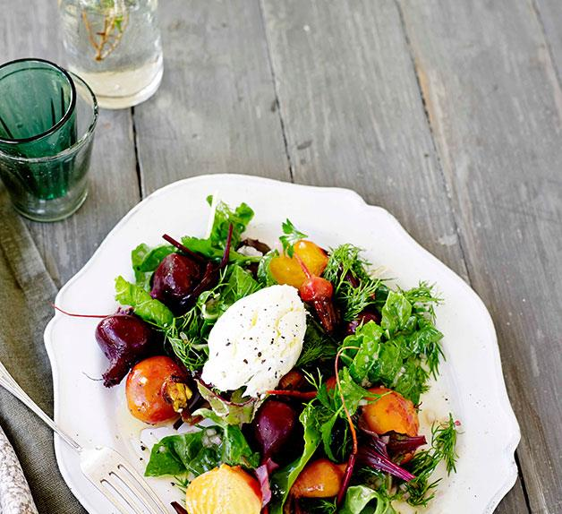 Beetroot, silverbeet and goat's curd salad