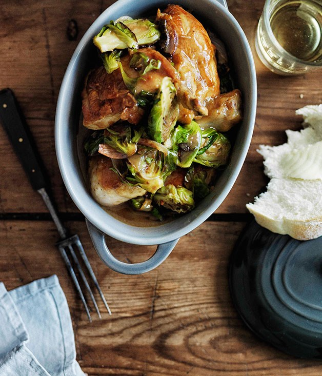 Chicken fricassée with Brussels sprouts