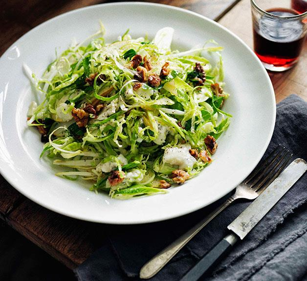 Shaved Brussels sprouts, walnuts and Gorgonzola cremificato salad