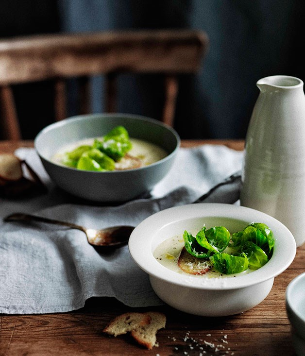 Parsnip and apple soup with crisp Brussels sprouts