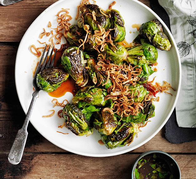 Roasted Brussels sprouts with crisp shallots and sweet, sour and salty dressing