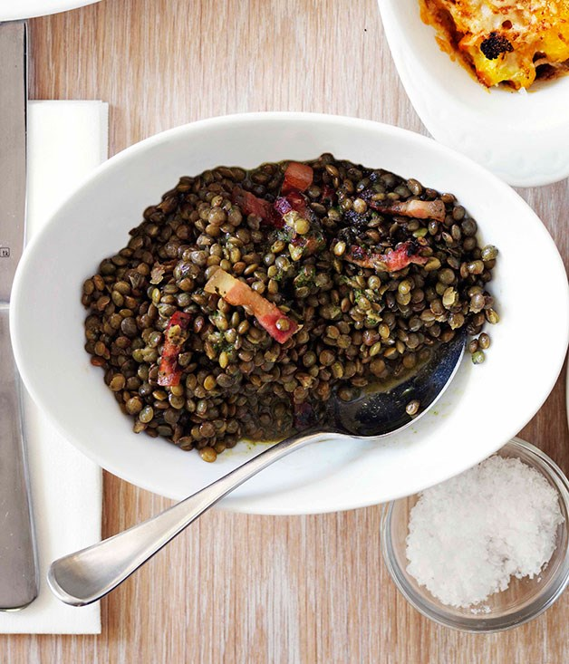 Lentils with pancetta and pistou