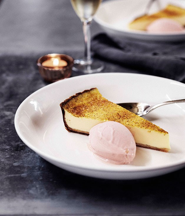 Custard tart with rhubarb ice-cream
