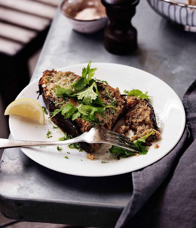 Roast eggplant, 'nduja and scamorza