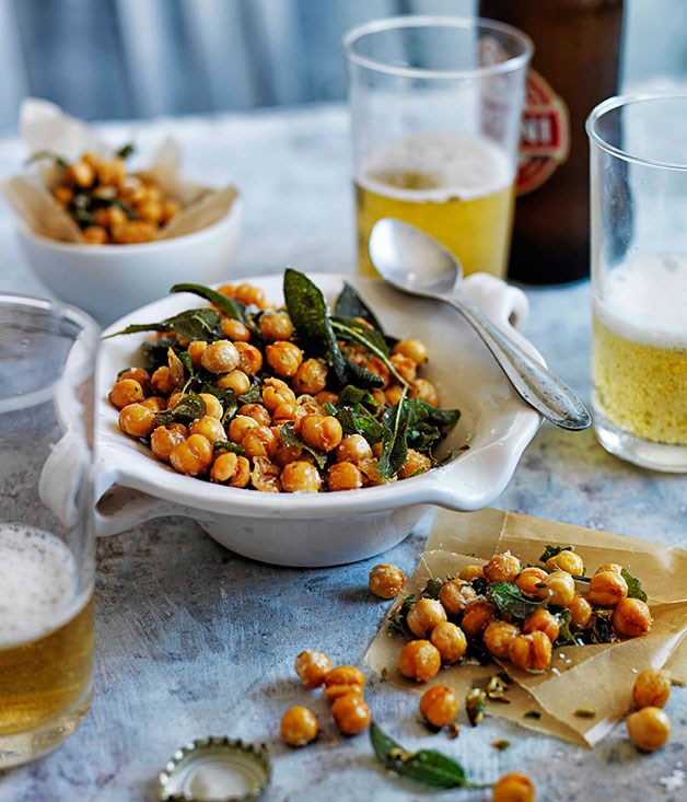 Herb and fennel fried salted chickpeas