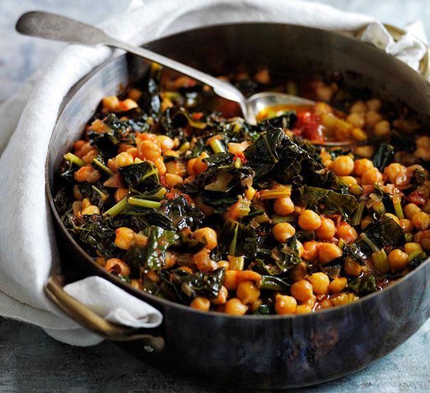 Slow-braised chickpeas with cavolo nero