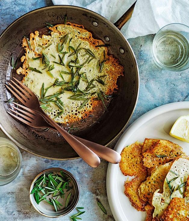 """[**Farinata di ceci (chickpea crêpes)**](https://www.gourmettraveller.com.au/recipes/browse-all/farinata-di-ceci-chickpea-crepes-11658 target=""""_blank"""")"""
