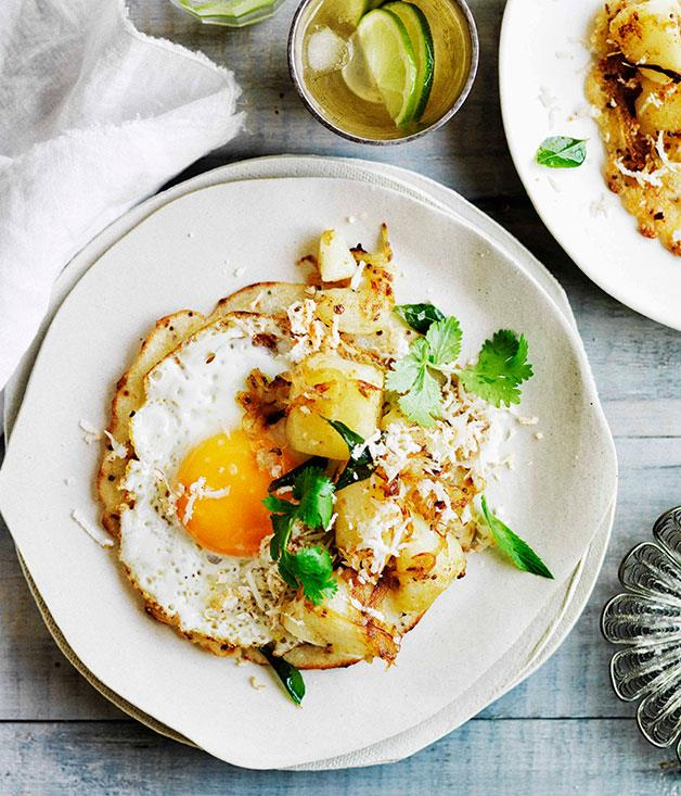 "**[Fried egg dosa with potato curry](https://www.gourmettraveller.com.au/recipes/browse-all/fried-egg-dosa-with-potato-curry-11663|target=""_blank"")**"