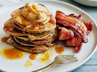 Buckwheat pikelets with bacon and maple butter