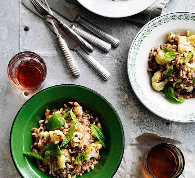 Roast cauliflower and farro salad with agrodolce dressing