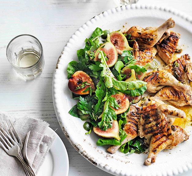 Grilled spatchcock with lardo, fig and Sicilian olive salad