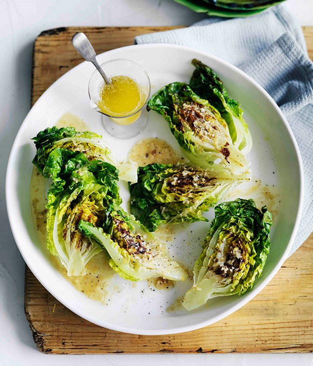 Grilled cos with lemon-anchovy butter dressing