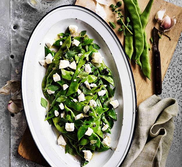 Roman beans, ricotta salata and oregano