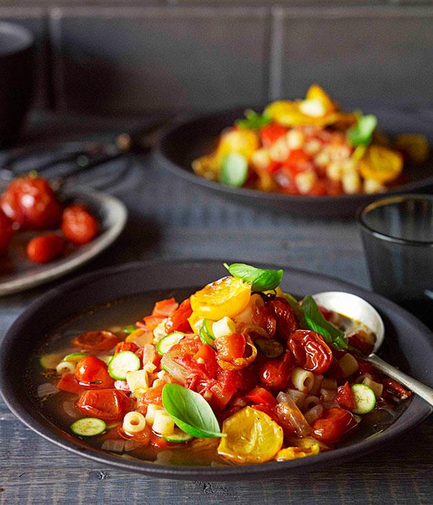 "**[Roast tomato minestrone](https://www.gourmettraveller.com.au/recipes/browse-all/roast-tomato-minestrone-11647|target=""_blank"")**"