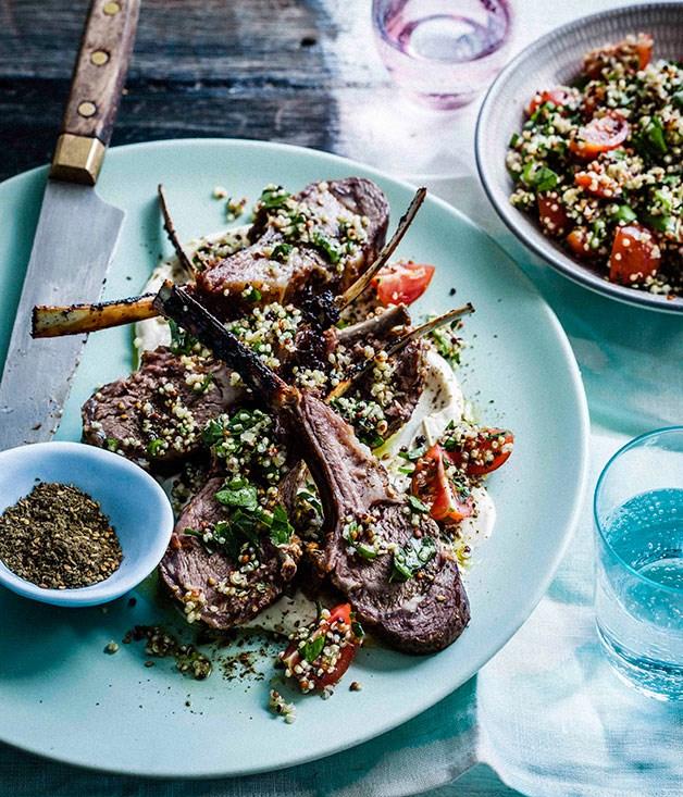 Za'atar lamb ribs with quinoa tabbouleh