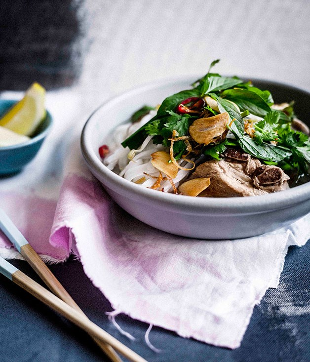 Vietnamese-style pork rib broth with lime and herbs