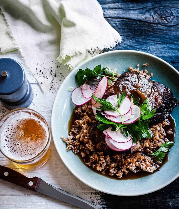 Beer-glazed beef short ribs with farro salad
