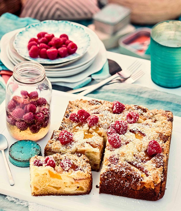 Peach, raspberry and ricotta crumble cake