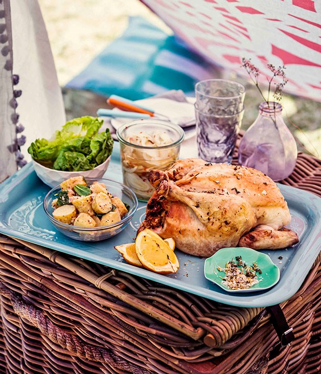 Roast chicken with thyme-lemon stuffing and pickled fennel