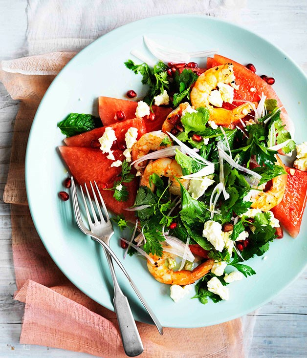 Watermelon, Persian feta, prawn and herb salad