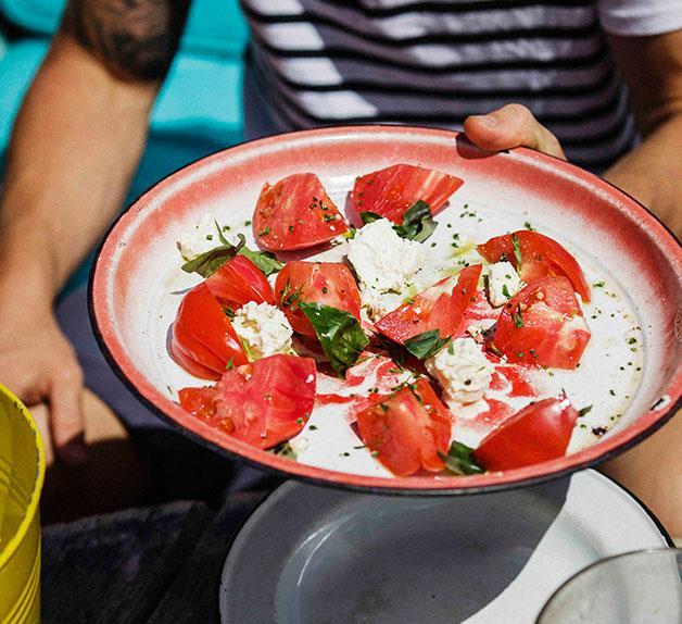 Tomato salad with feta and basil