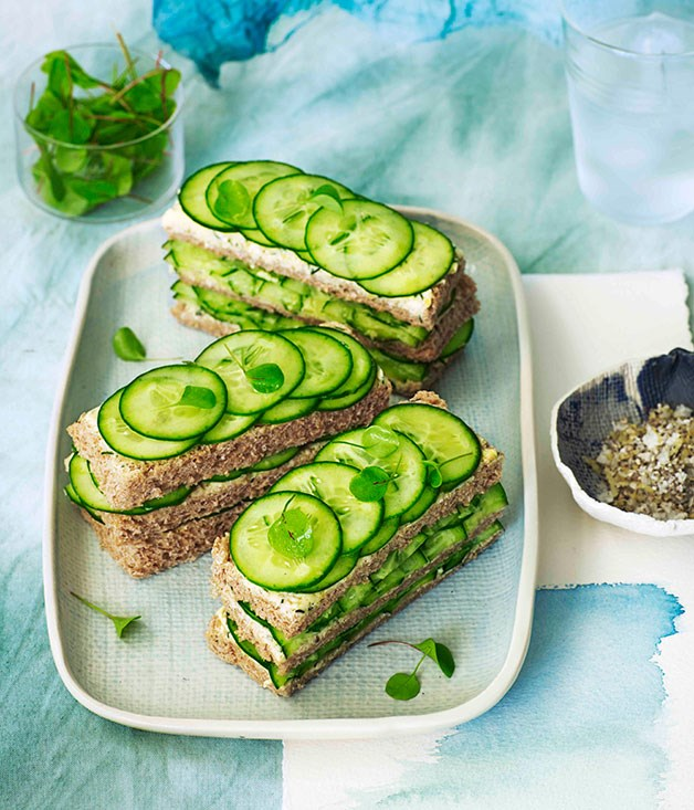 Triple-decker cucumber sandwiches with dill and lemon butter