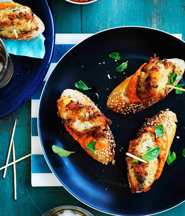 Salt cod pintxos with romesco