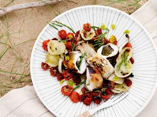Calamari with sun-dried tomatoes and fennel pollen